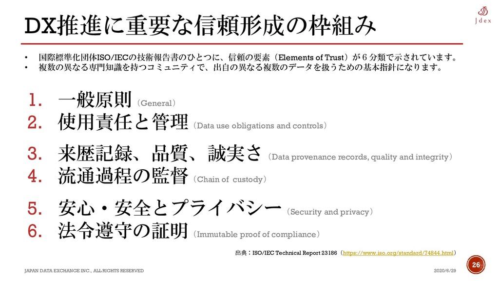 26 DX推進に重要な信頼形成の枠組み 2020/6/29 JAPAN DATA EXCHAN...
