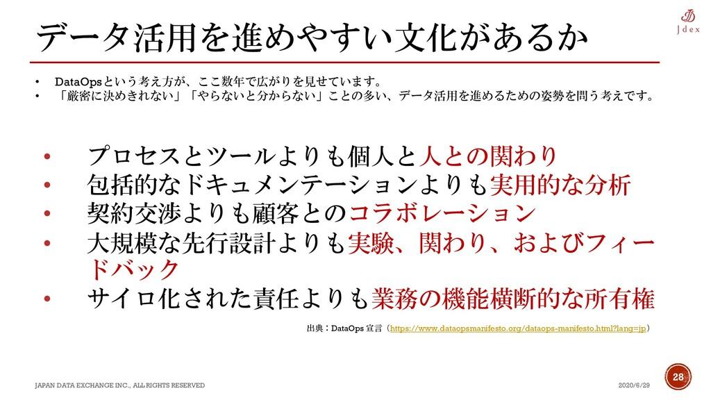 28 データ活用を進めやすい文化があるか 2020/6/29 JAPAN DATA EXCHA...