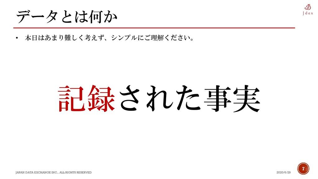 7 データとは何か 2020/6/29 JAPAN DATA EXCHANGE INC., A...