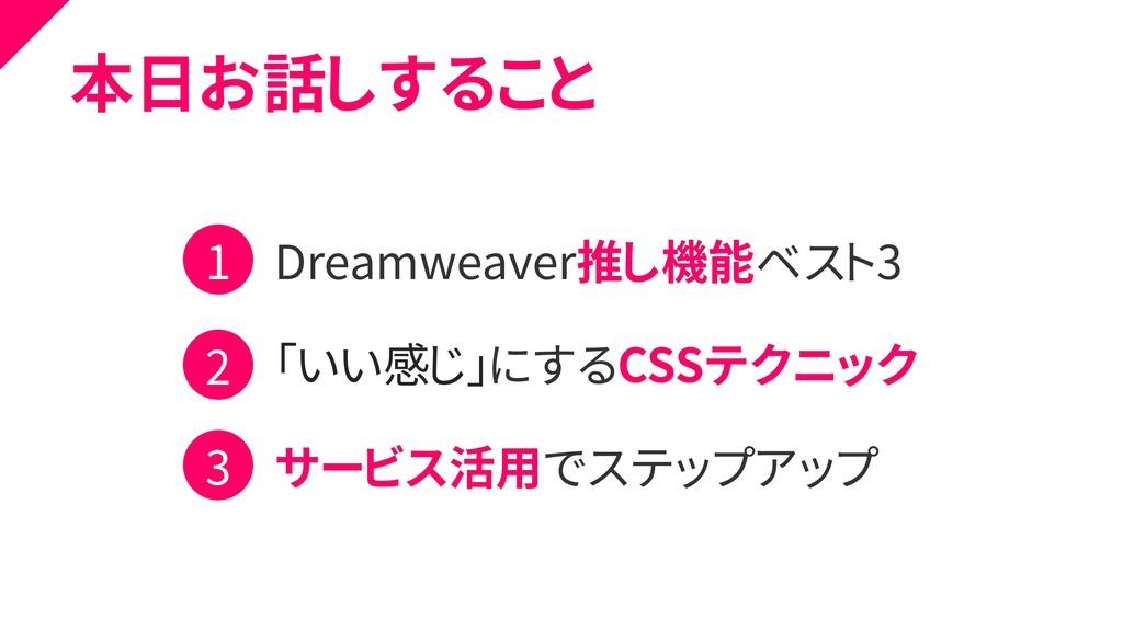 本日お話しすること Dreamweaver推し機能ベスト3 「いい感じ」にするCSSテクニック...