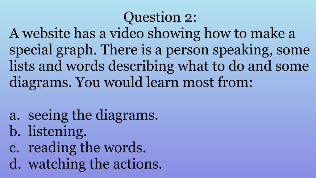 Question 2: A website has a video showing how t...