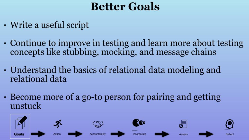 • Write a useful script • Continue to improve i...