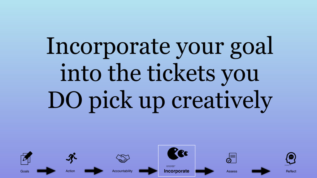 Incorporate your goal into the tickets you DO p...