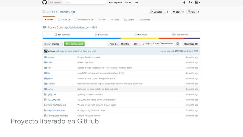 Proyecto liberado en GitHub
