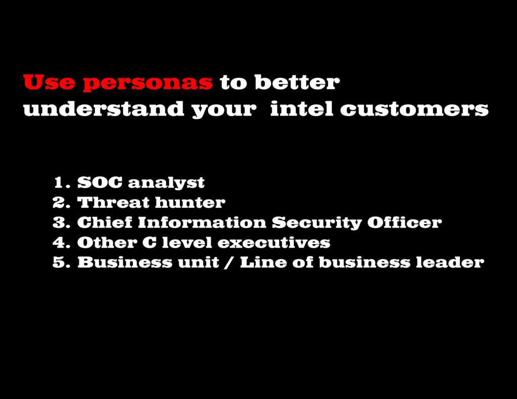 1. SOC analyst 2. Threat hunter 3. Chief Inform...
