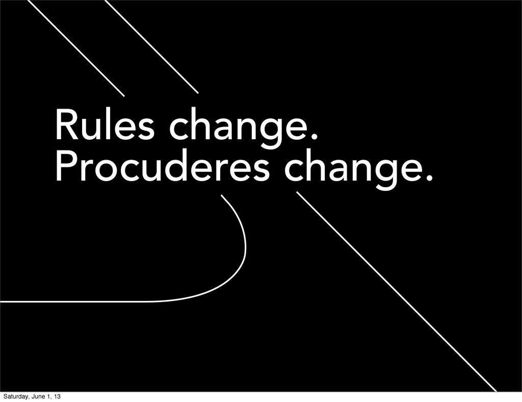 Rules change. Procuderes change. Saturday, June...