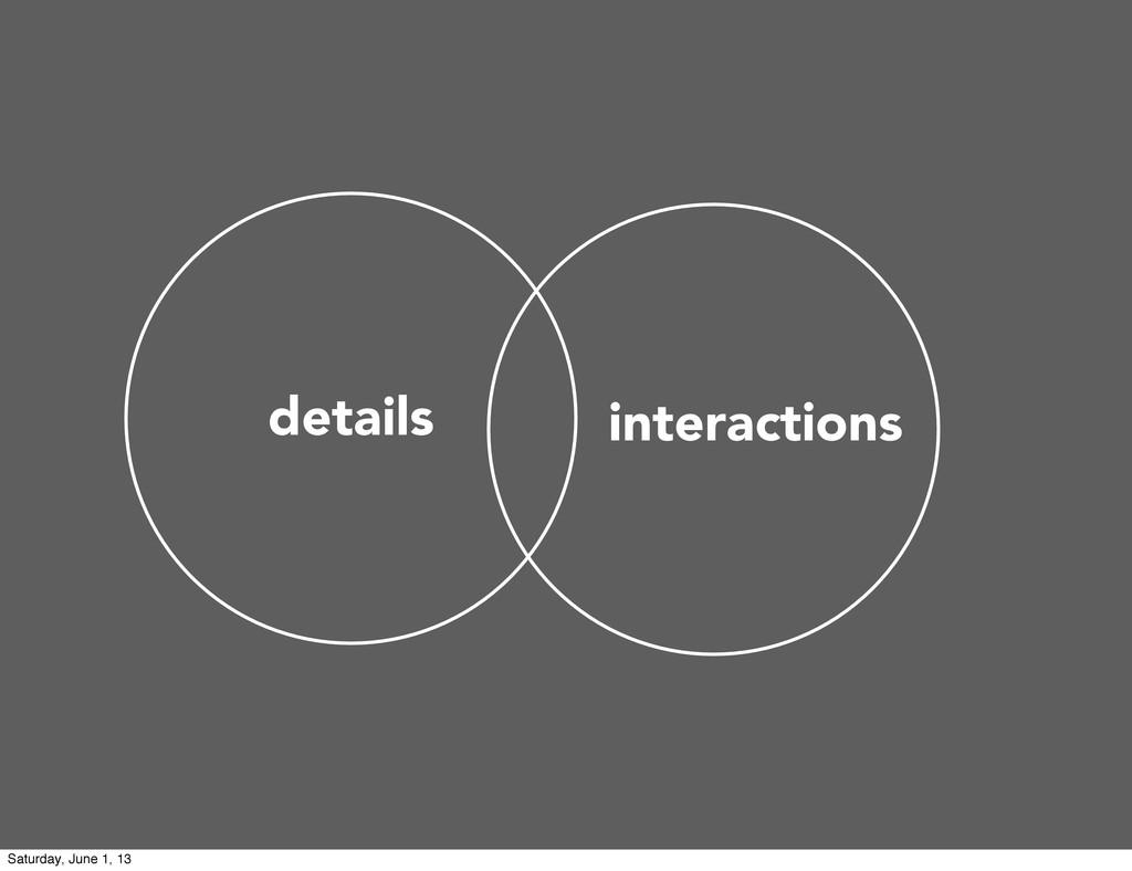 details interactions Saturday, June 1, 13