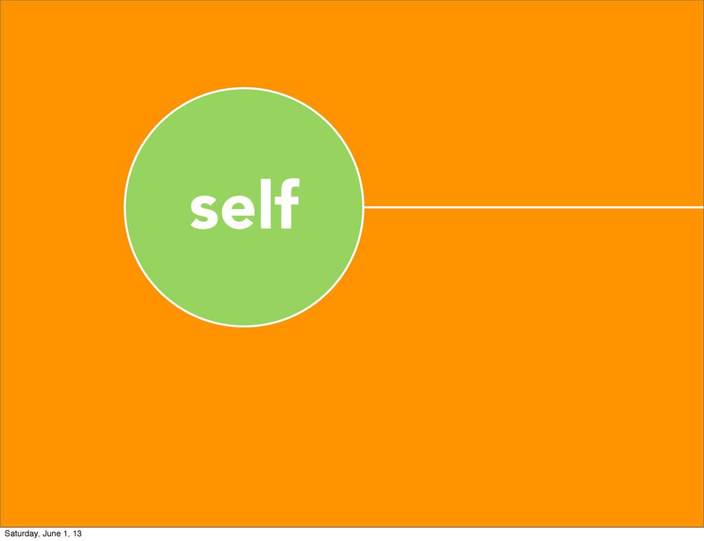 self Saturday, June 1, 13