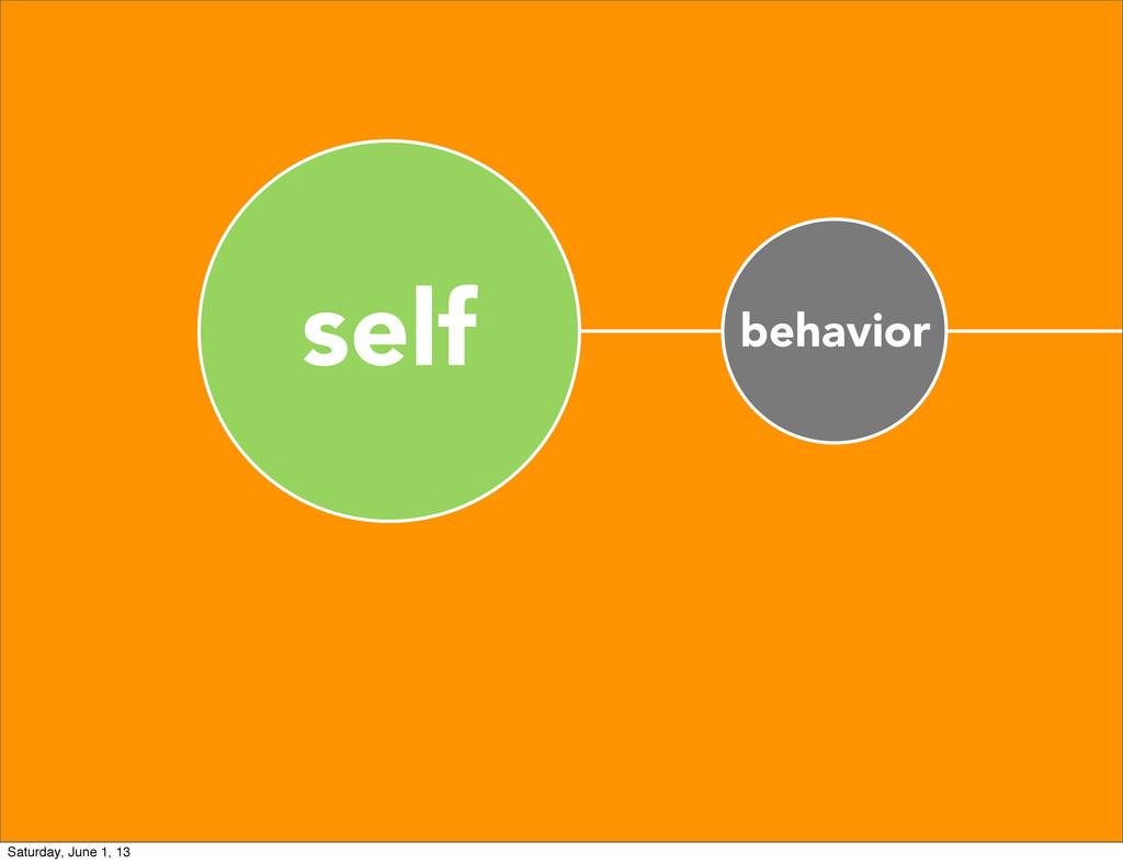 self behavior Saturday, June 1, 13