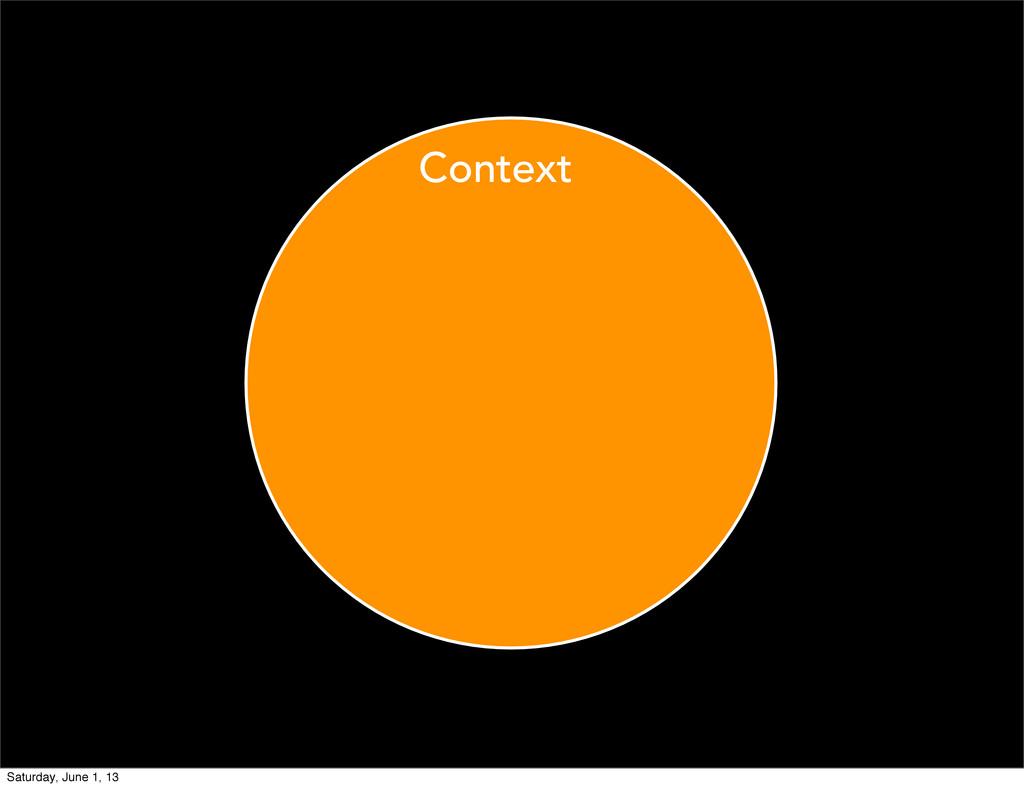 Context Saturday, June 1, 13