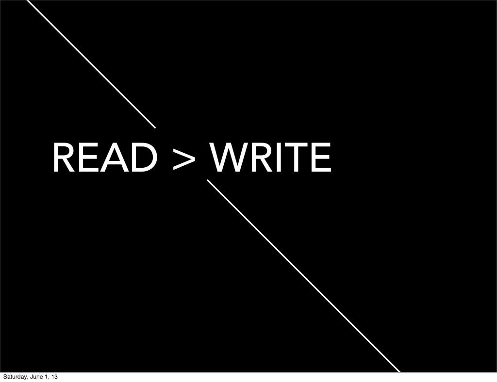 READ > WRITE Saturday, June 1, 13