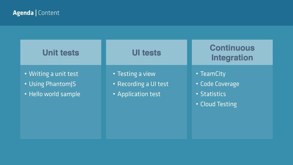 Agenda   Content Unit tests UI tests Continuous...