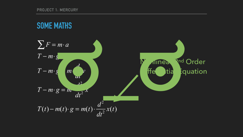 PROJECT 1: MERCURY SOME MATHS F = m⋅a ∑ T − m⋅ ...