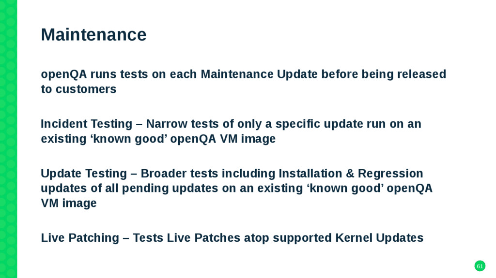 61 Maintenance openQA runs tests on each Mainte...