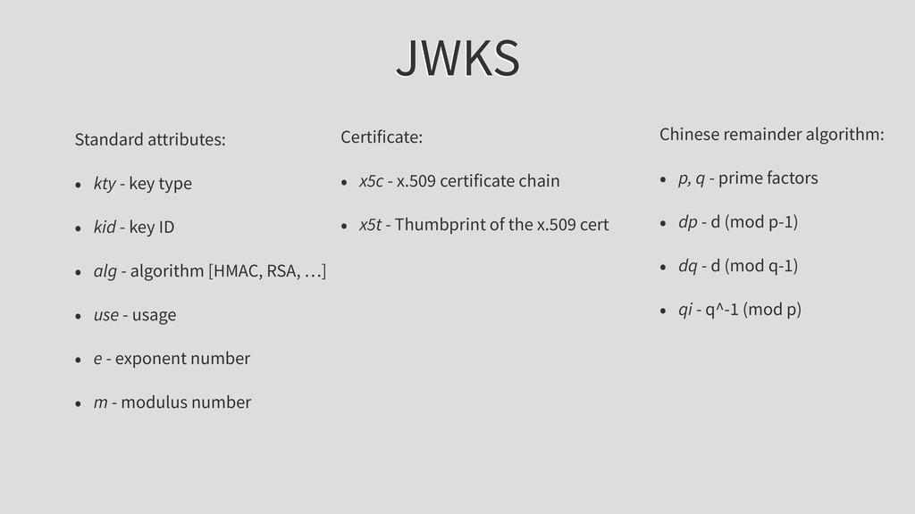 JWKS Standard attributes: • kty - key type • ki...