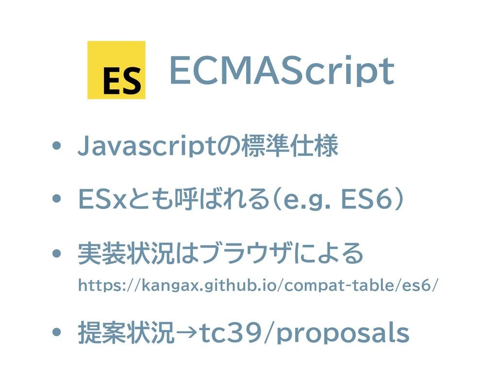 ECMAScript • ESxとも呼ばれる(e.g. ES6) • 実装状況はブラウザによる...