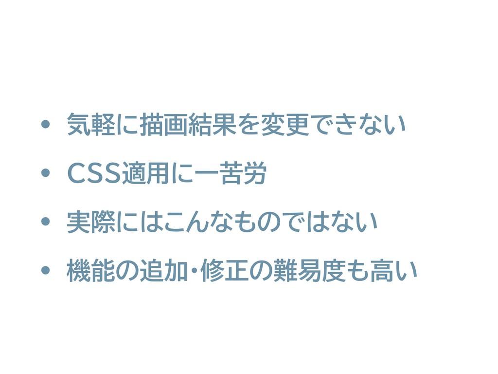 • 気軽に描画結果を変更できない • CSS適用に一苦労 • 実際にはこんなものではない • ...