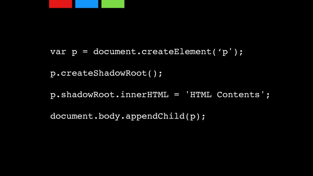 var p = document.createElement('p'); p.createSh...