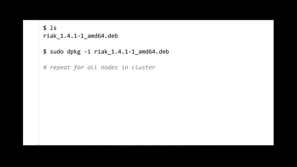 $ ls riak_1.4.1-‐1_amd64.deb $ sudo d...