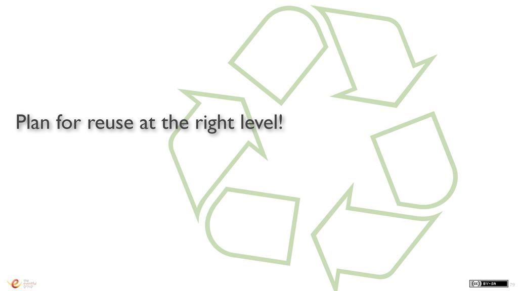 㾺 Plan for reuse at the right level! 79