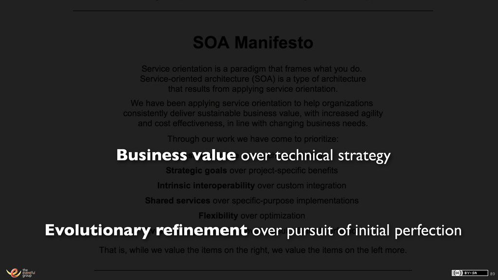 89 Business value over technical strategy Evolu...
