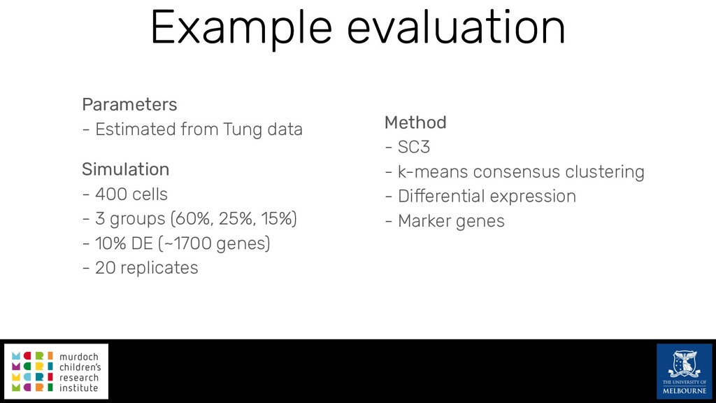 Example evaluation Parameters - Estimated from ...