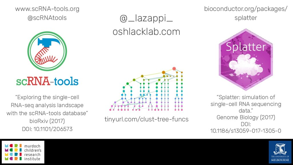 @_lazappi_ oshlacklab.com www.scRNA-tools.org @...