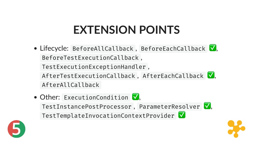 5 EXTENSION POINTS Lifecycle: BeforeAllCallback...