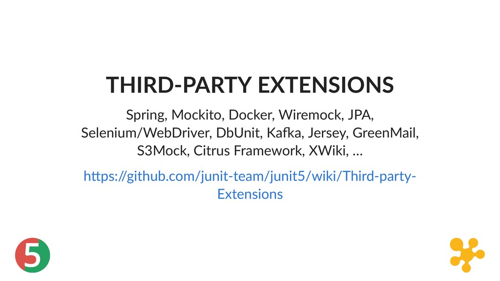 5 THIRD‑PARTY EXTENSIONS Spring, Mockito, Docke...
