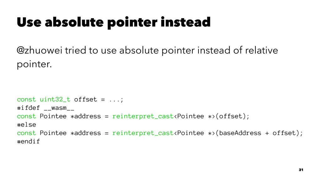 Use absolute pointer instead @zhuowei tried to ...