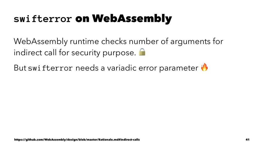 swifterror on WebAssembly WebAssembly runtime c...