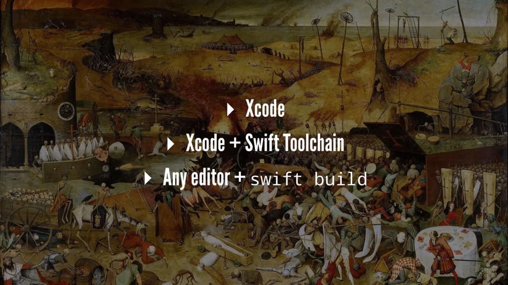 ▸ Xcode ▸ Xcode + Swift Toolchain ▸ Any editor ...