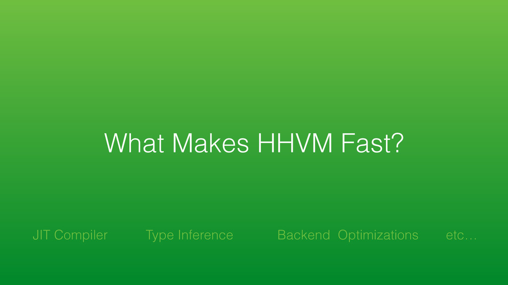 What Makes HHVM Fast? Backend Optimizations JIT...