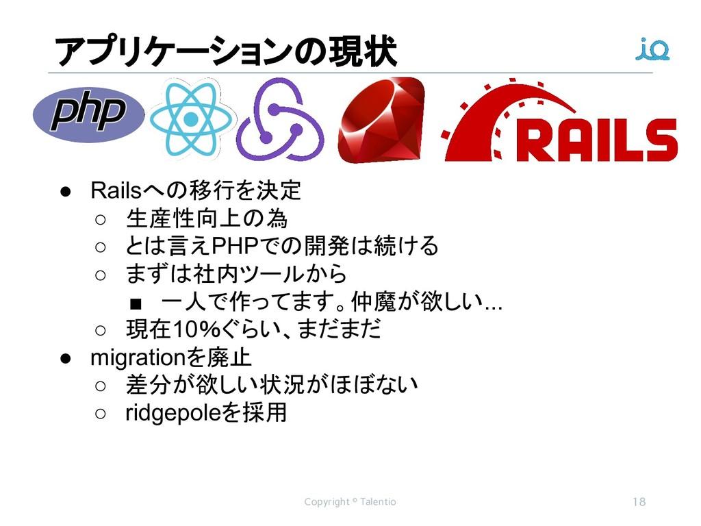 アプリケーションの現状 Copyright © Talentio 18 ● Railsへの移行...