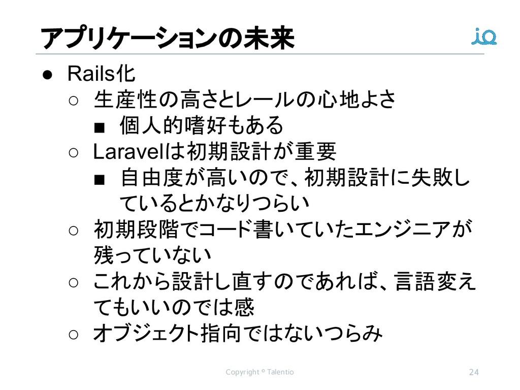アプリケーションの未来 Copyright © Talentio 24 ● Rails化 ○ ...
