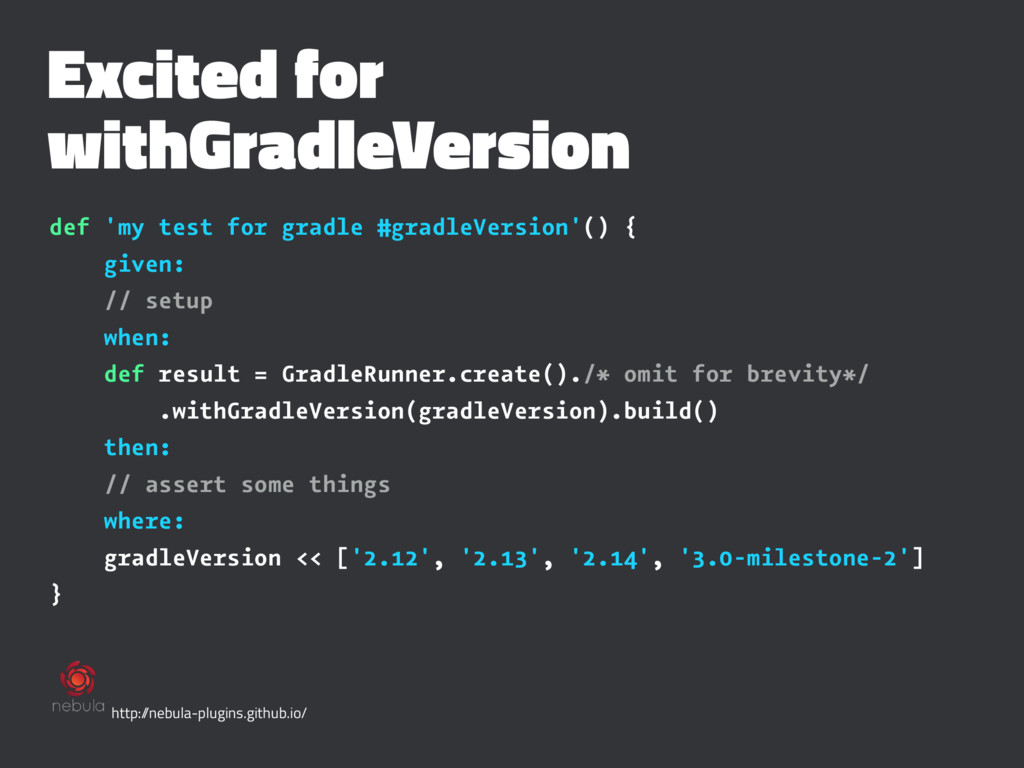 Excited for withGradleVersion def 'my test for ...