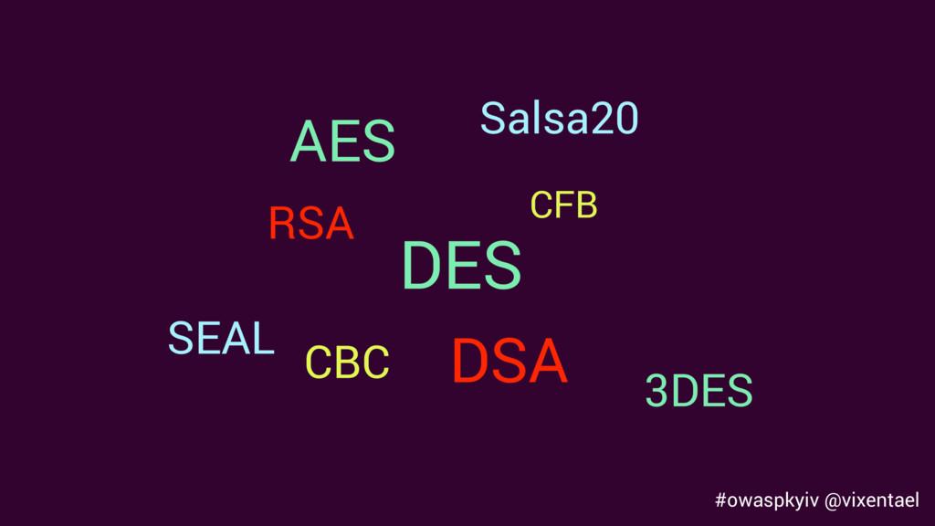 AES DES 3DES CBC CFB SEAL Salsa20 RSA DSA #owas...