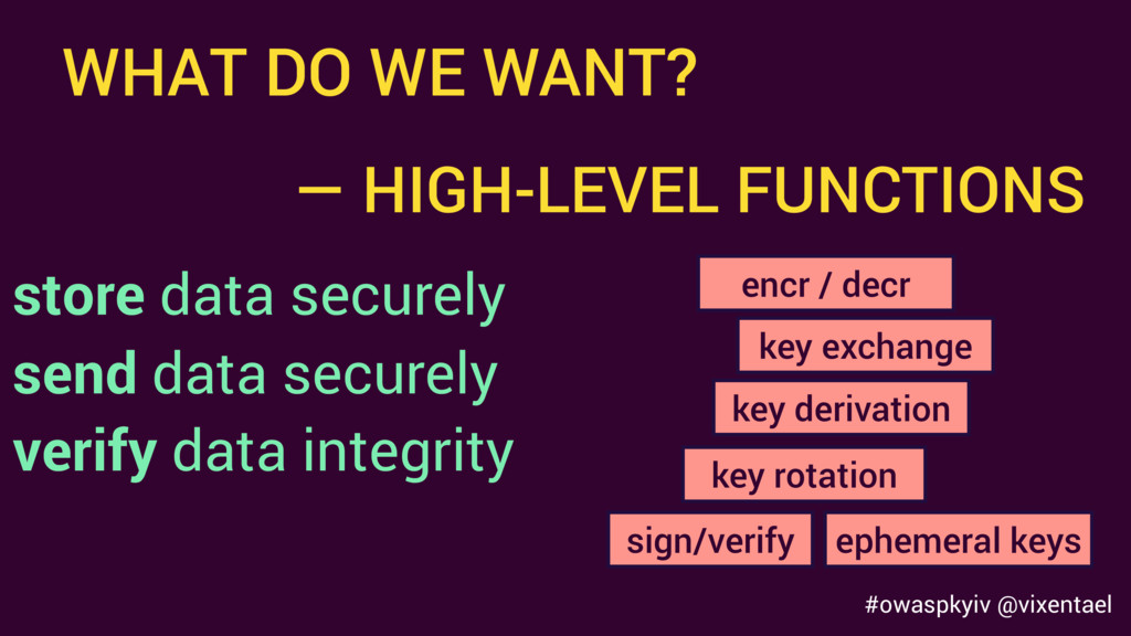 WHAT DO WE WANT? store data securely send data ...