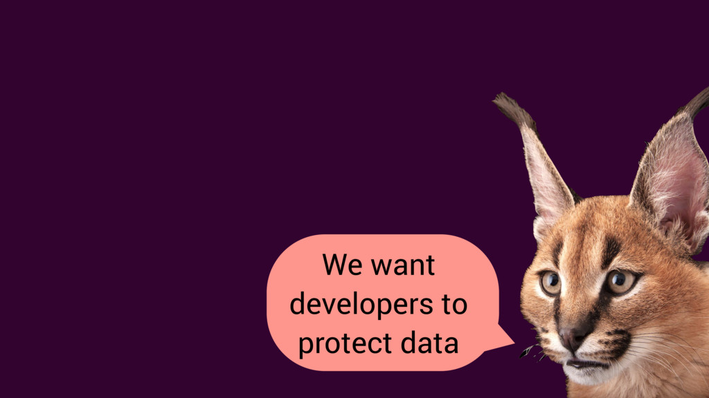 We want developers to protect data