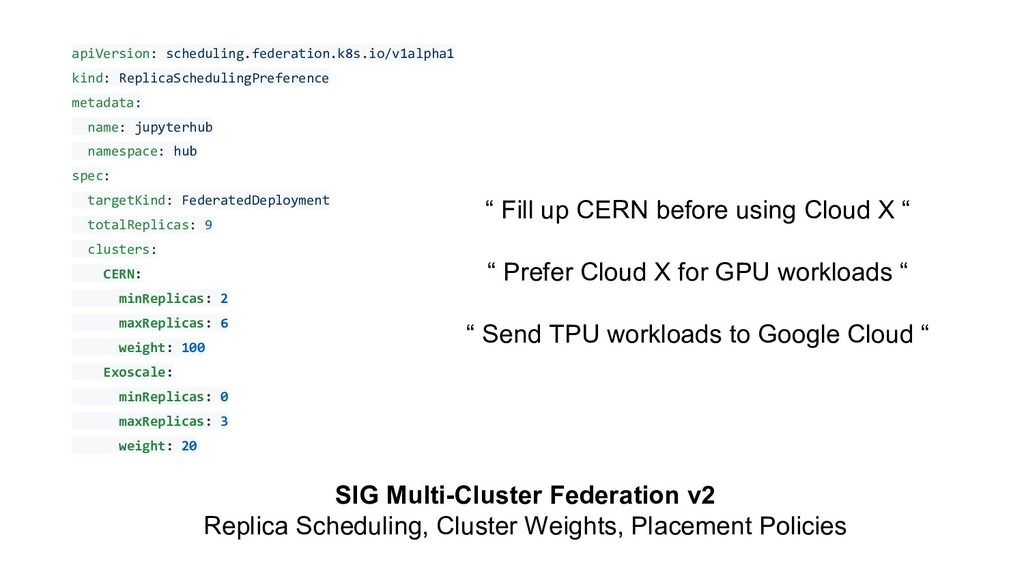 SIG Multi-Cluster Federation v2 Replica Schedul...