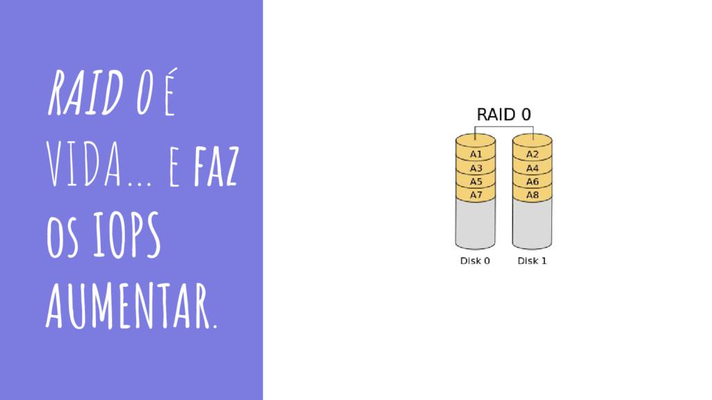 RAID 0 é VIDA… e faz os IOPS AUMENTAR.