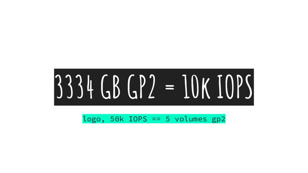 3334 GB GP2 = 10k IOPS logo, 50k IOPS == 5 volu...