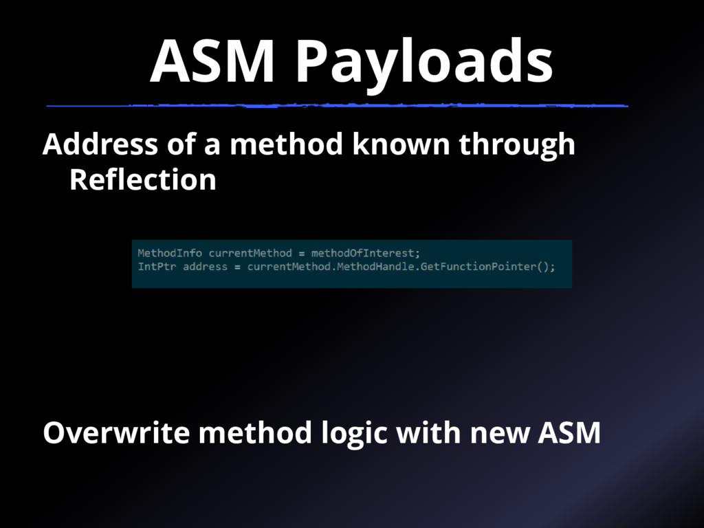 ASM Payloads Address of a method known through ...
