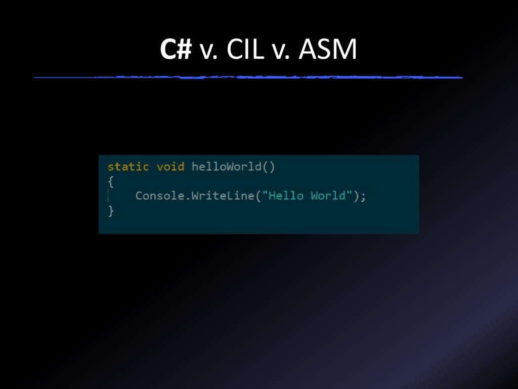 C# v. CIL v. ASM