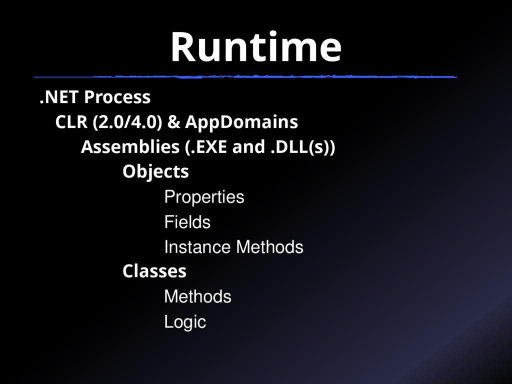 Runtime .NET Process CLR (2.0/4.0) & AppDomains...