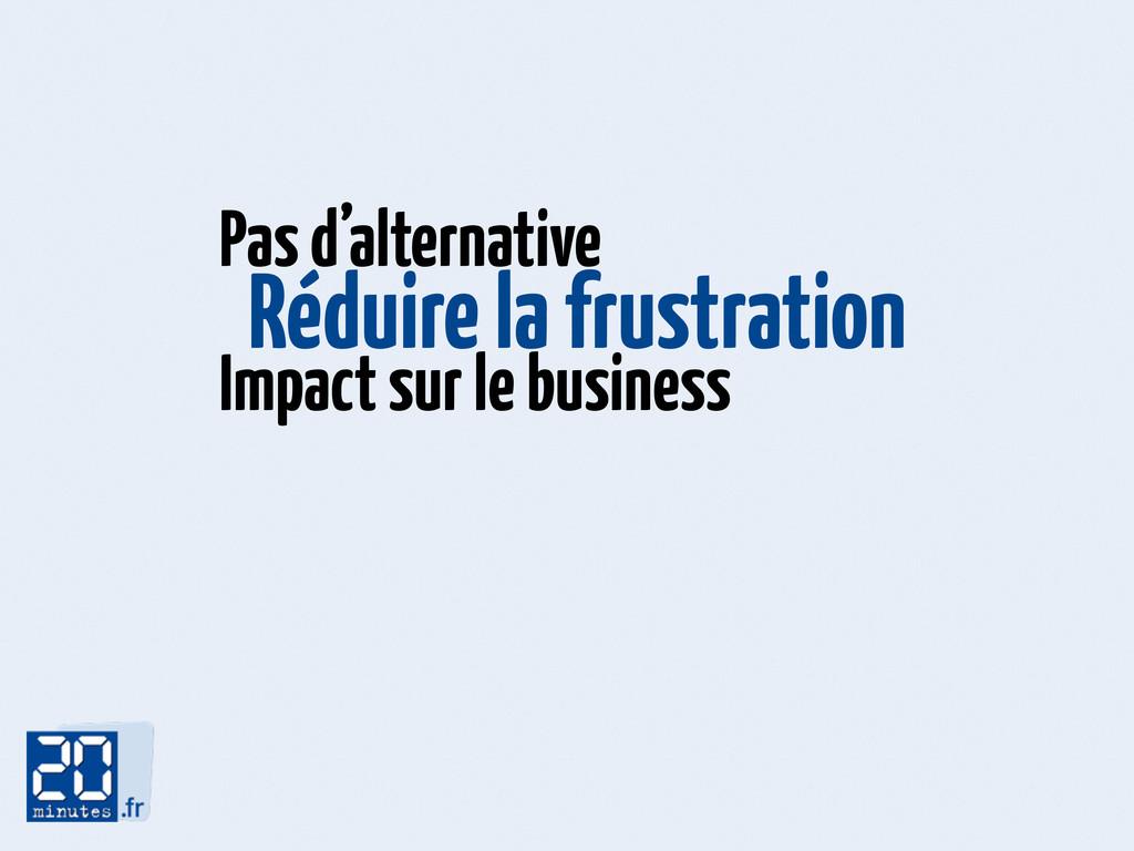 Réduire la frustration Pas d'alternative Impact...