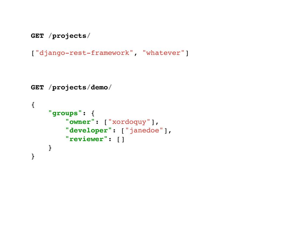 "GET /projects/ [""django-rest-framework"", ""whate..."
