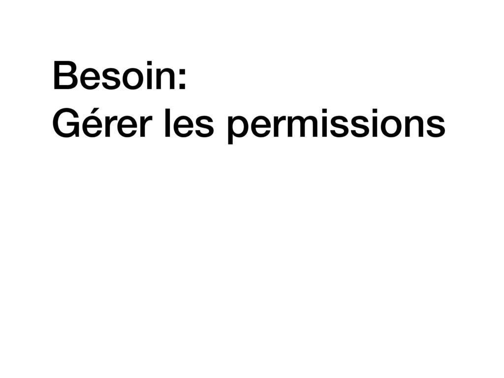 Besoin: Gérer les permissions