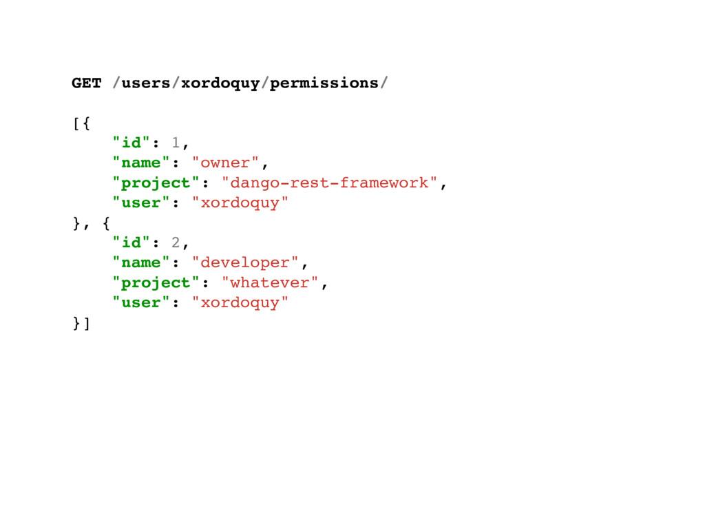 "GET /users/xordoquy/permissions/ [{ ""id"": 1, ""n..."