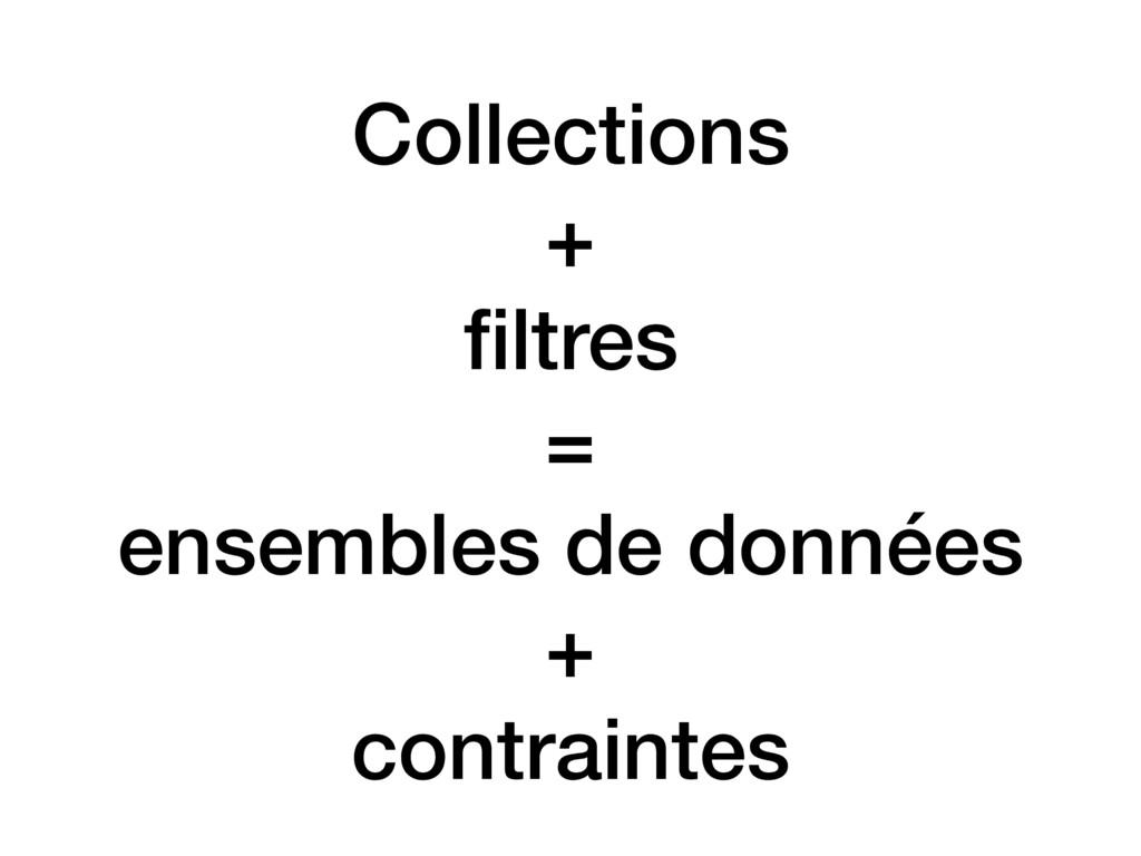 Collections + filtres = ensembles de données + c...